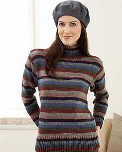 Ravelry Striped Turtleneck Sweater Pattern By Bernat Design Studio
