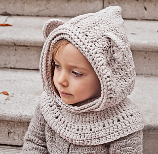 Free Teddy Bear Cowl Crochet Pattern : Ravelry: Polar Bear Hooded Cowl pattern by Mon Petit Violon