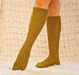 Ravelry Knee High Diamond Socks Pattern By Mon Petit Violon