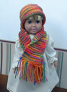 Ravelry 019 Worsted Rolled Brim Hat Scarf Fits American Girl Doll