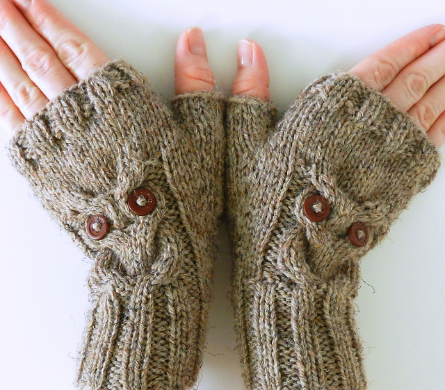 Ravelry Owl Cable Knit Fingerless Mittens Pattern By Crystal Lybrink