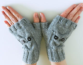 Ravelry Owl Cable Knit Fingerless Mittens Pattern By
