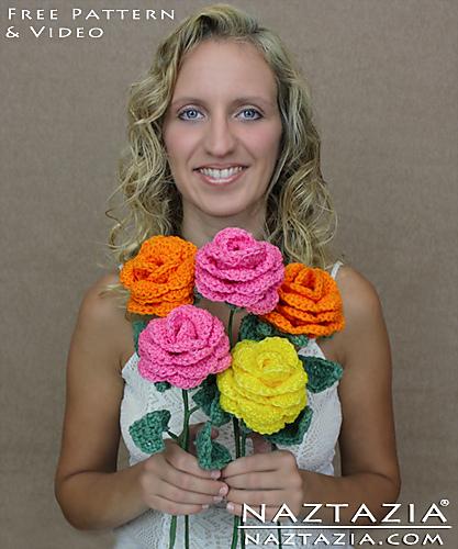 Ravelry Crochet Flower Rose Bouquet Pattern By Naztazia