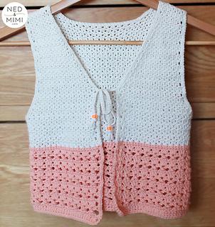 Peaches and Cream Girls Vest pattern by Sarah Ruane