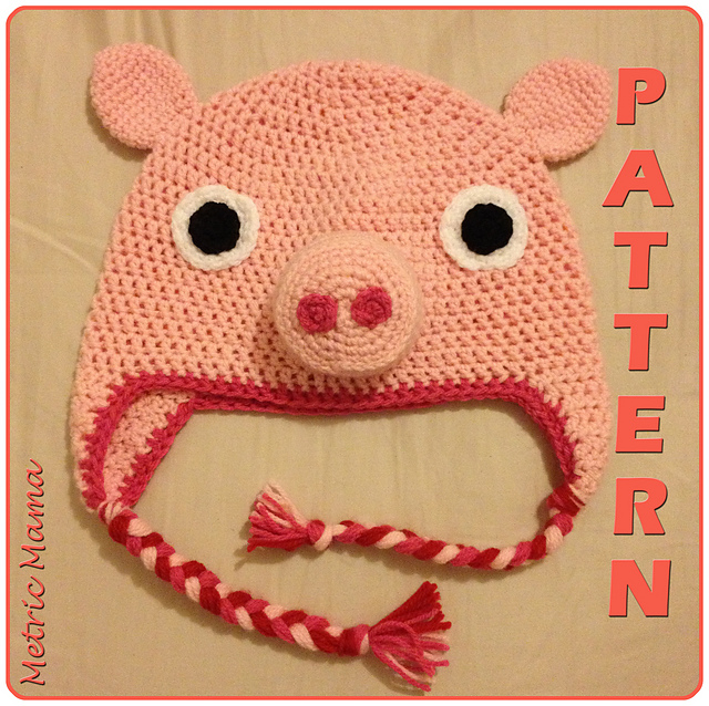 Ravelry Peppa Pig Beanie Adjustable Size Crochet Pattern
