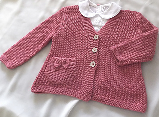afd87a42f Ravelry  Baby - Girls textured V neck cardigan with detailed pocket ...