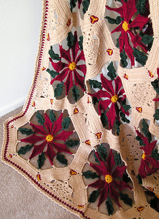 Ravelry Antique Poinsettia Afghan Christmas Pattern By