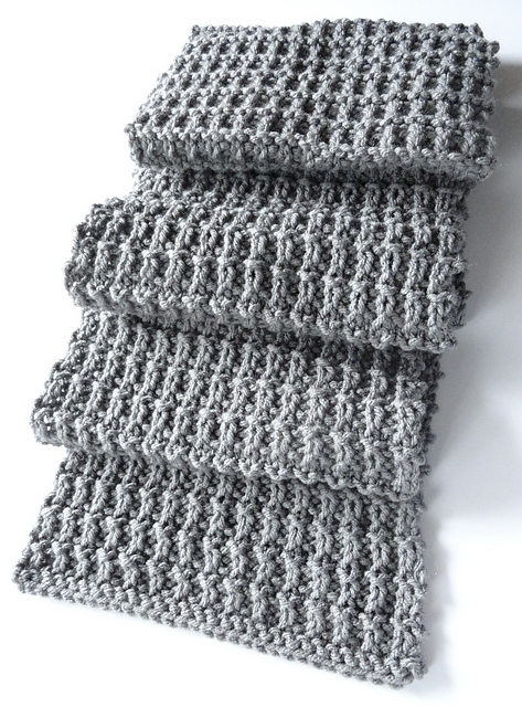 Ridge Rib Men's Scarf is a Unisex knitted scarf in easy knit purl texture.