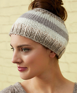 Ravelry  Striping Messy Bun Hat pattern by Laura Bain e347511c7a54