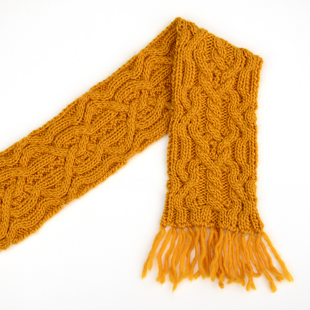 Ravelry: Double Mustard, a reversible cabled scarf pattern by Xandy ...
