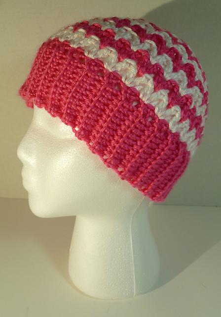Ravelry: Zig Zag Messy Bun Beanie Hat pattern by Suzanne Cowles