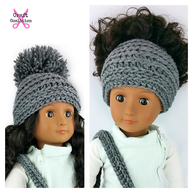 Ravelry 18 Inch Doll My Dolly Edgy Messy Bun Hat 2 In 1 Pattern