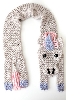 Knitting Pattern For Unicorn Hooded Scarf : Ravelry: Unicorn Scarf pattern by Louise Walker