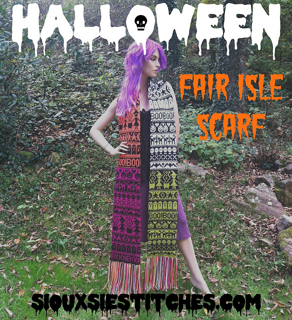 Ravelry: Halloween Fair Isle Scarf pattern by Siouxsie Stitches