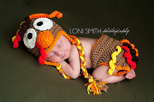 Ravelry Thanksgiving Turkey Ear Flap Hat Diaper Cover Pattern By