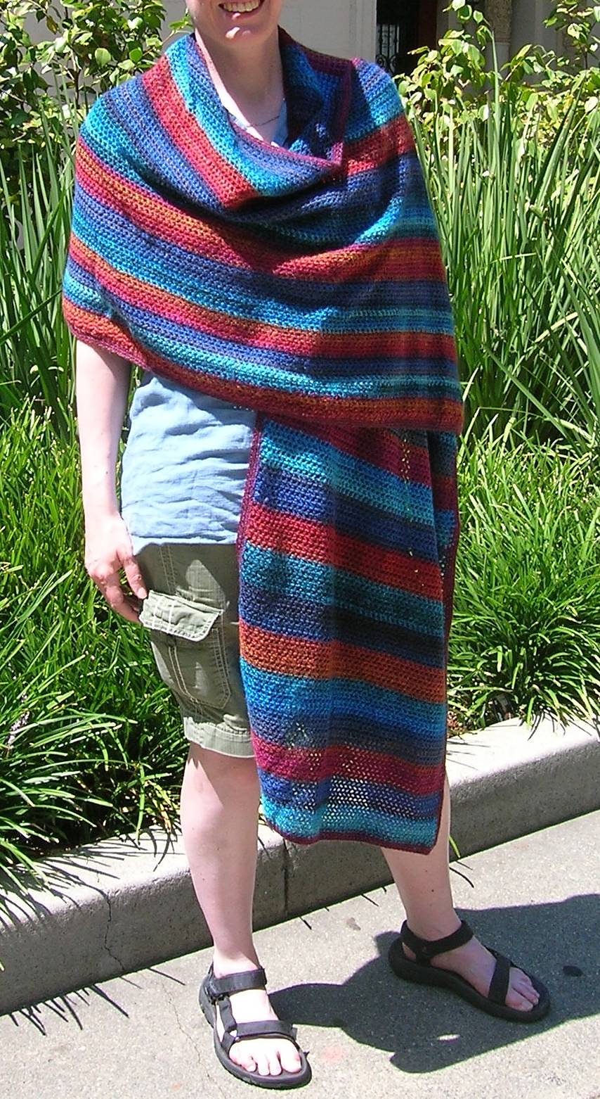shawl on model with stripes horizontal