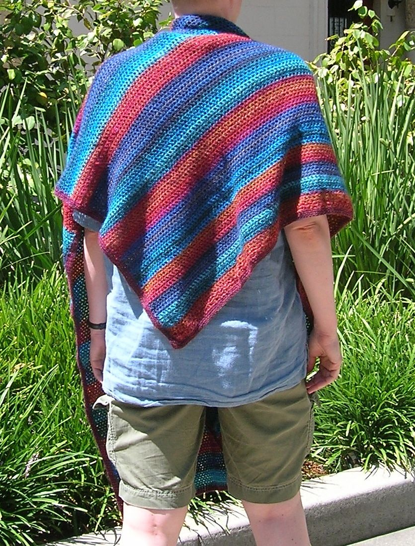 back view of shawl on model