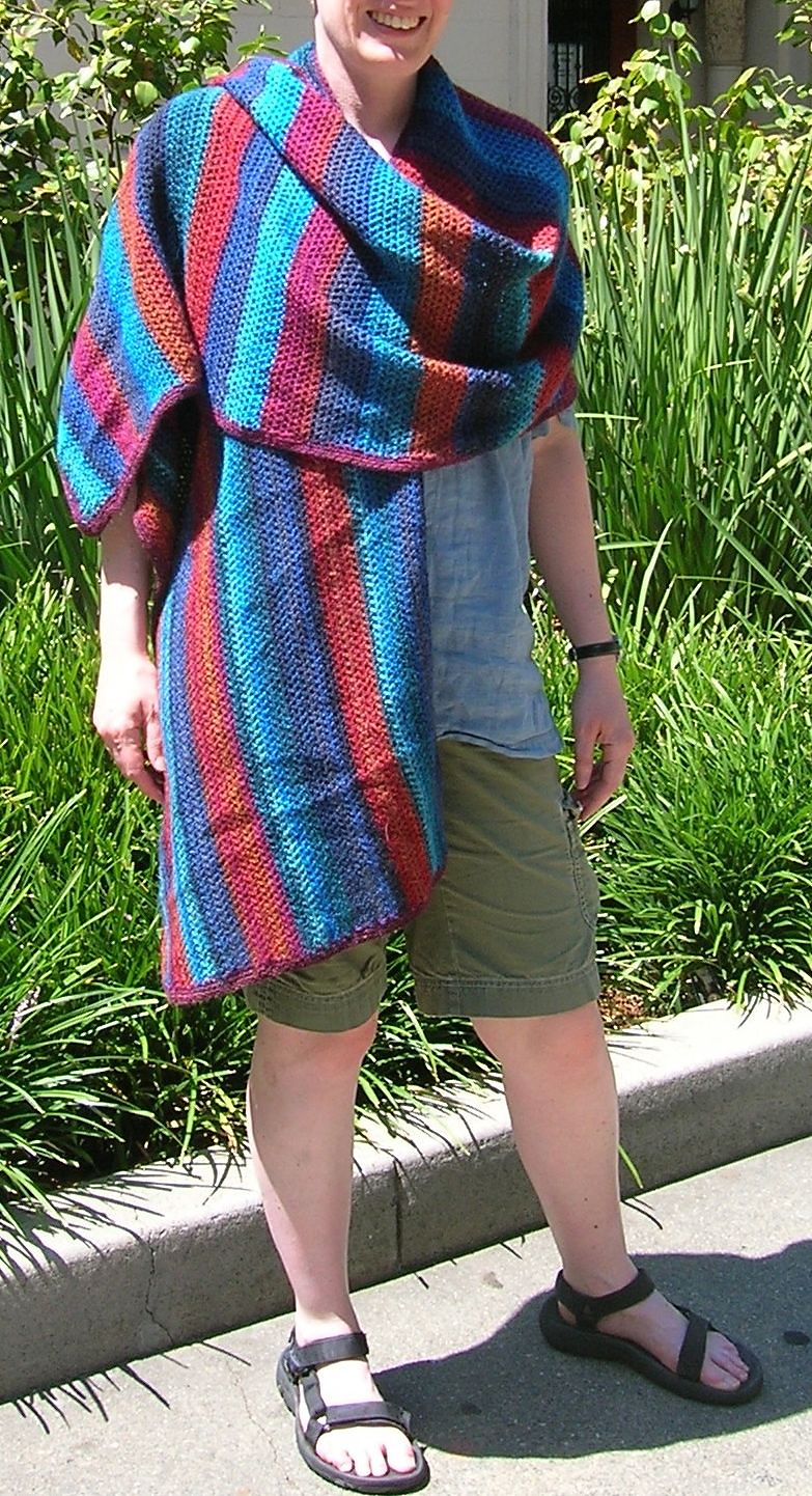 shawl on model with stripes vertical
