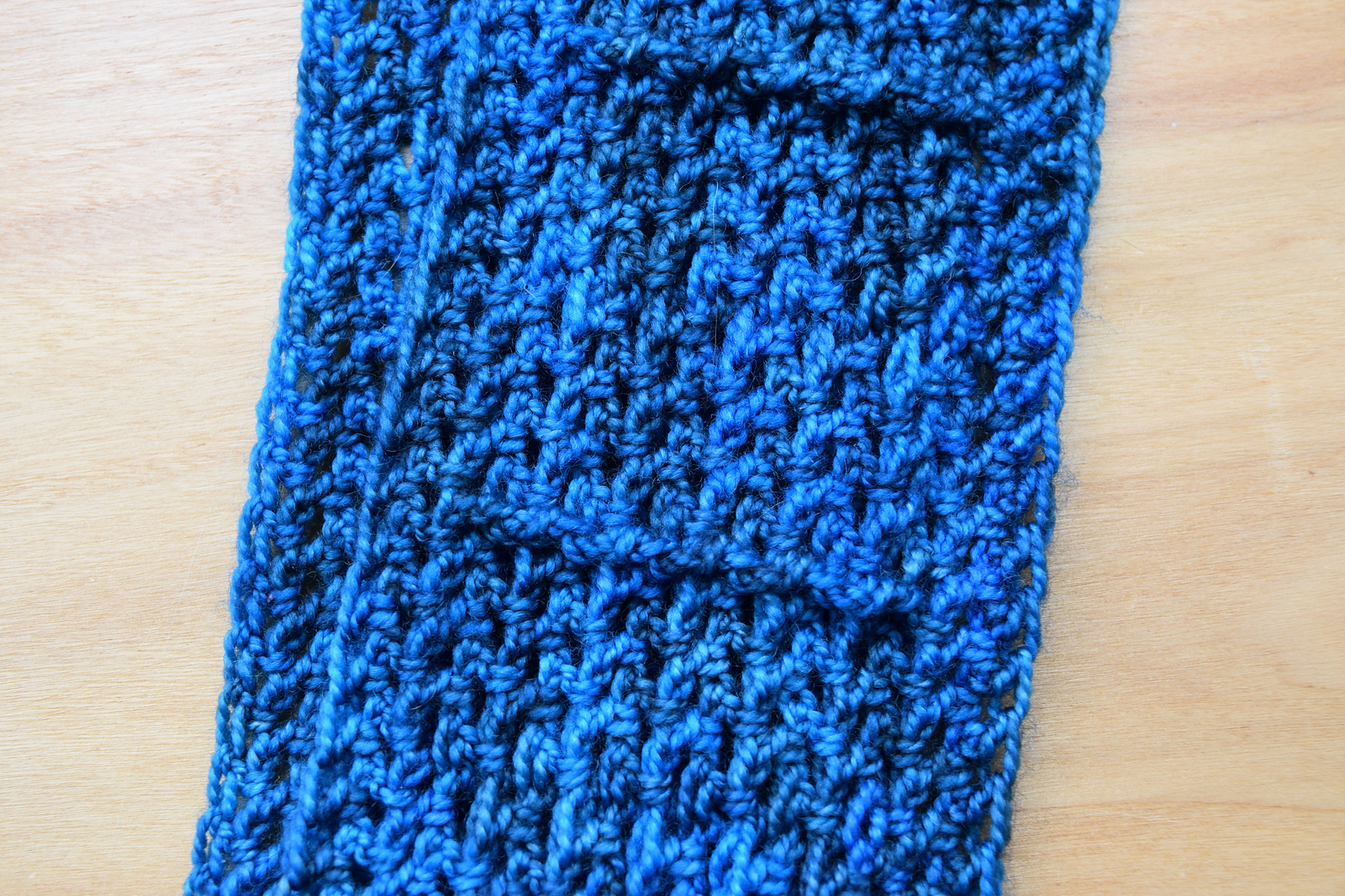 close-up of turquoise rectangular ribbed scarf