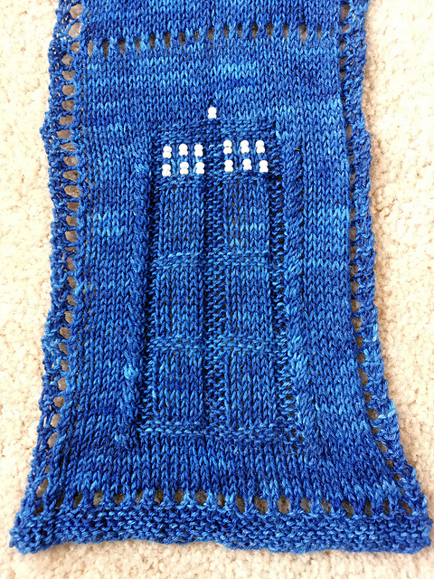 Ravelry Tardis Scarf With Beads Pattern By Annastasia Webster