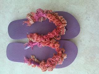 Ravelry Crochet Flip Flops With Ruffle Yarn Pom Pom Yarn