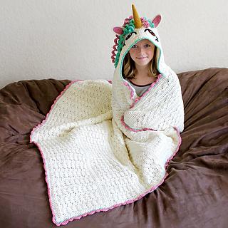 Knitting Pattern For Unicorn Blanket : Ravelry: Hooded Unicorn Blanket pattern by Joni Memmott ...