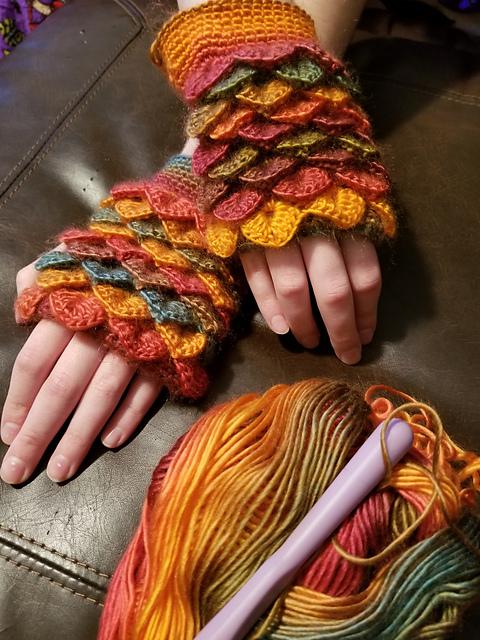 Ravelry Dragon Scale Fingerless Gloves Pattern By Knotty Crochet Lady