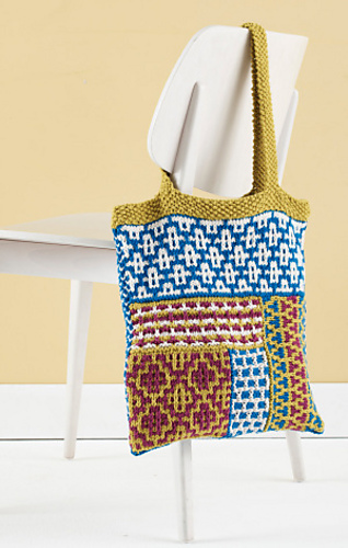 Multi-colored mosaic tote in multiple knitting patterns.