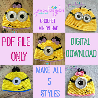 Ravelry crochet minion hat pattern pattern by jaley davis dt1010fo
